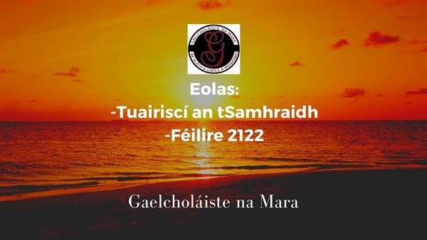 Tuairiscí an tSamhraidh/Féilire 2122